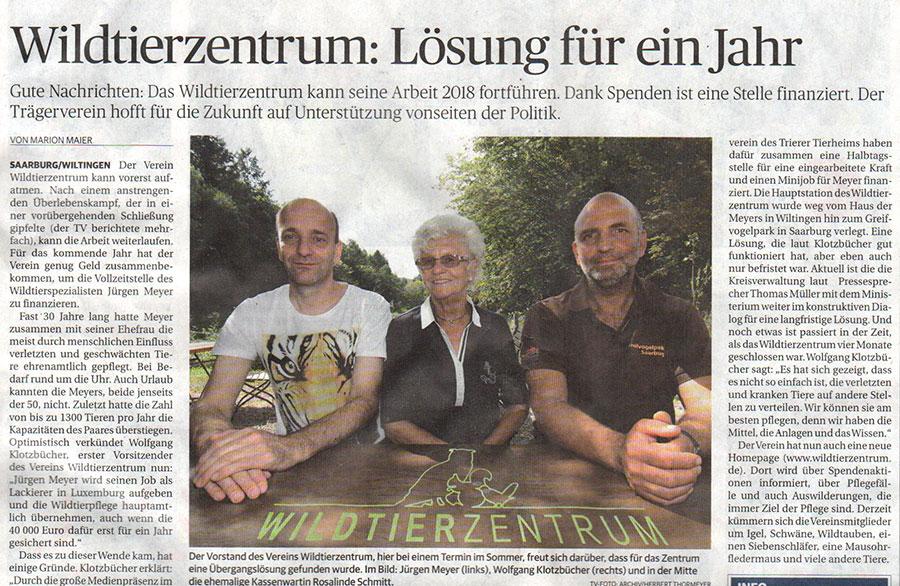Trierischer Volksfreund: Wildtierzentrum Saarburg: Lösung für ein Jahr